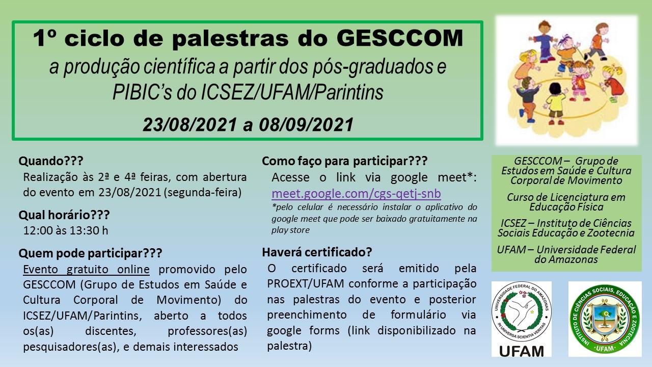 1º ciclo de palestras do GESCCOM
